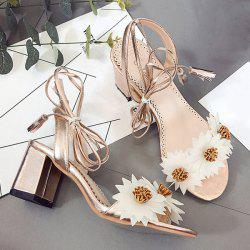Tie Up Flowers Sandals