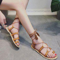 Lace Up Toe Ring Gladiator Flat Sandals
