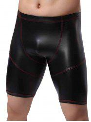 Imitation Leather Boxer Briefs - BLACK