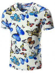 V Neck Butterfly Printed Tee