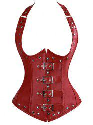 Halter Lace-Up Faux Leather Corset Top