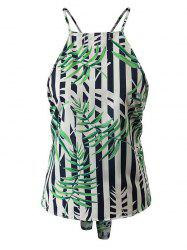 Spaghetti Strap Bamboo Leaf Backless Tank Top