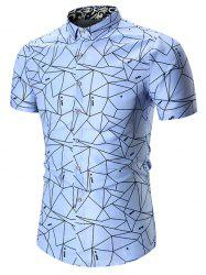 Plus Size Geometric Print Shirt - WINDSOR BLUE
