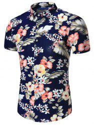 Short Sleeves Plus Size Floral Print Shirt - PURPLISH BLUE