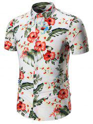 Short Sleeves Plus Size Floral Print Shirt - WHITE
