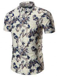 Plus Size Branch Print Shirt - DEEP BLUE