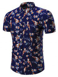 Plus Size Birds Printed Shirt - PURPLISH BLUE