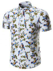 Plus Size Birds Printed Shirt