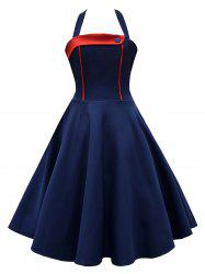Vintage Halter High Waisted Contrast Insert Dress
