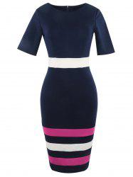 Half Sleeve Color Lump Insert Pencil Dress - PURPLISH BLUE