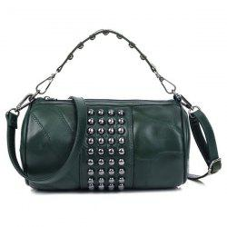 Studded Cylinder Shaped Crossbody Bag