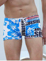 Tropical Print Graphic Swimming Trunks - BLUE 2XL
