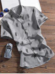Splashed Ink Printed Short Sleeves Shirt