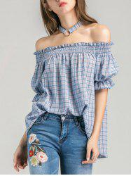 Off The Shoulder Plaid Blouse with Choker