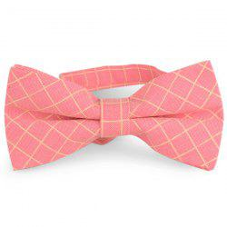 Cotton Blending Plaid Bow Tie - PEACH RED