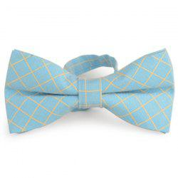 Cotton Blending Plaid Bow Tie - AZURE