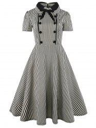 Vintage Bowknot Button Plaid Fit and Flare Dress - CHECKED