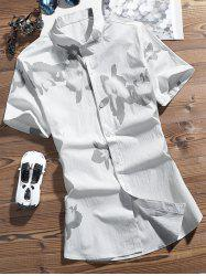 Flowers Pattern Turndown Collar Shirt