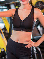 Wireless Zip Up Padded Sports Bra - BLACK