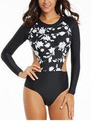 Cut Out High Neck Floral Swimsuit