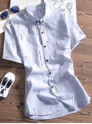 Letter and Dashed Printed Button Down Shirt