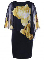Tight Floral Slit Sleeve Capelet Dress - BLACK