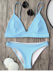 Cami Plunge Bikini Top and Bottoms - LIGHT BLUE