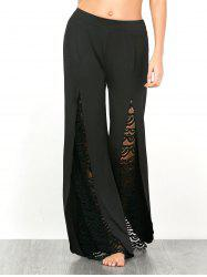 Lace Insert High Split Palazzo Pants - BLACK