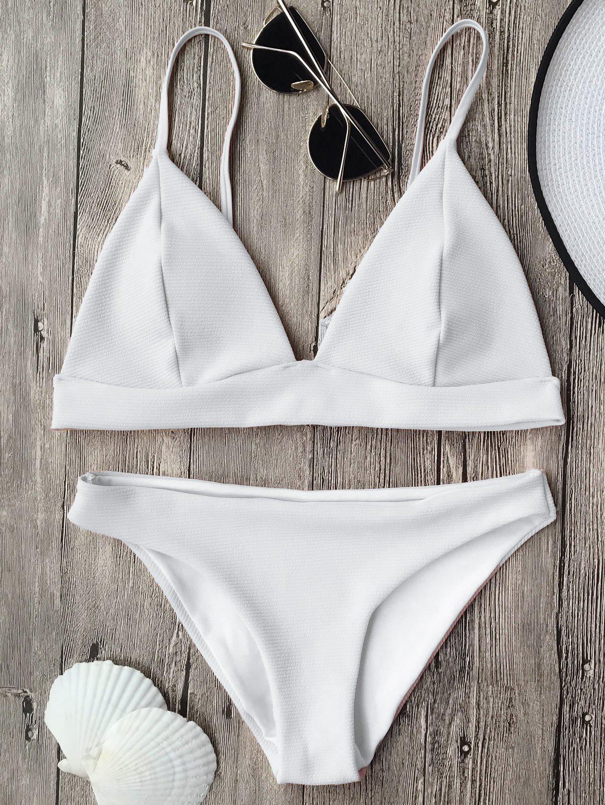 Affordable Cami Plunge Bikini Top and Bottoms
