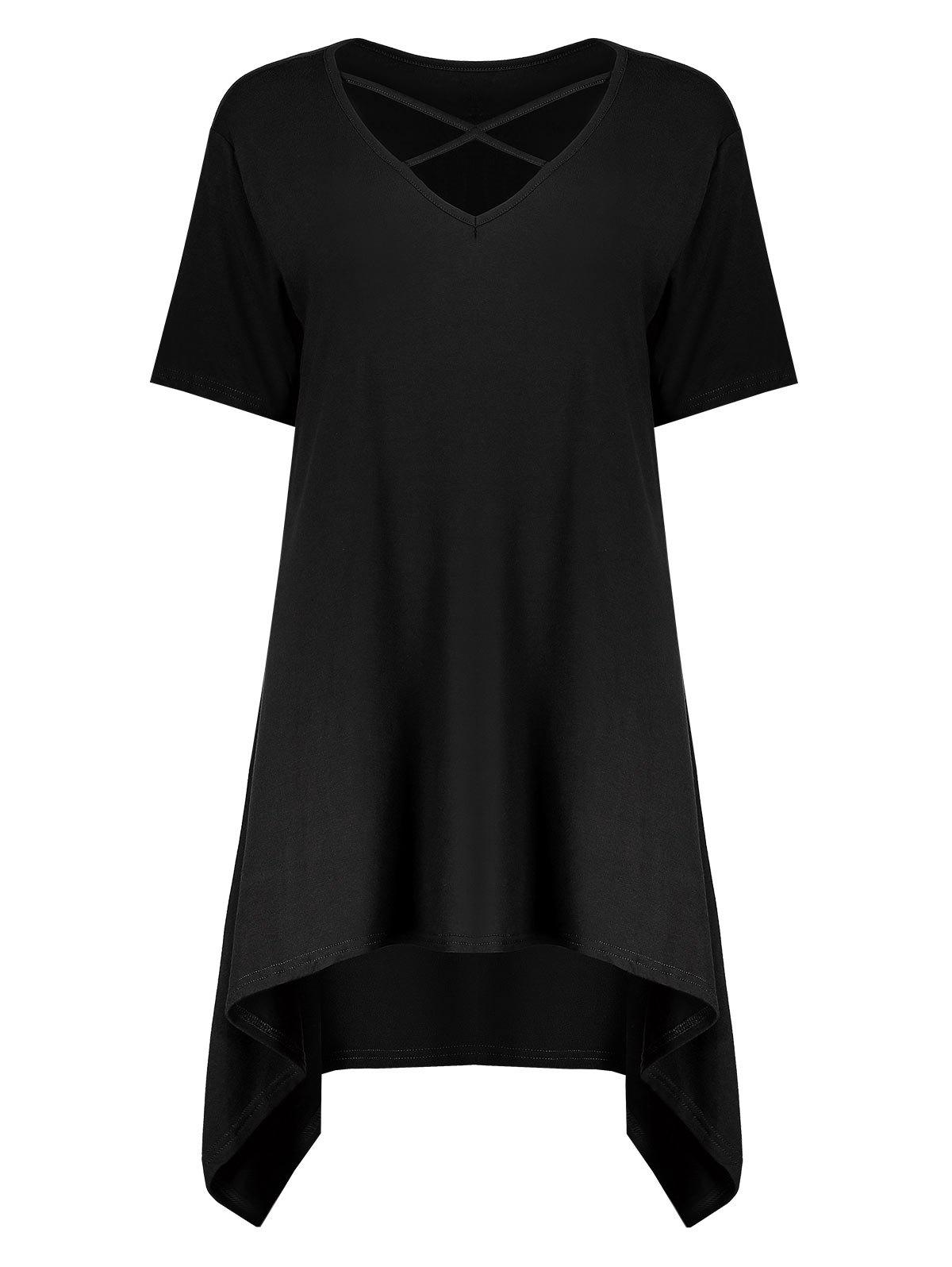 Plus Size Criss Cross Long Swing Cutout T-ShirtWOMEN<br><br>Size: 2XL; Color: BLACK; Material: Cotton,Cotton Blends,Polyester; Shirt Length: Long; Sleeve Length: Short; Collar: V-Neck; Style: Casual; Season: Spring,Summer; Embellishment: Hollow Out; Pattern Type: Solid; Weight: 0.3500kg; Package Contents: 1 x Tee;