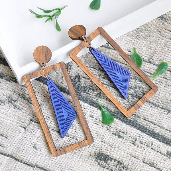 Hot Vintage Triangle Rectangle Wooden Drop Earrings