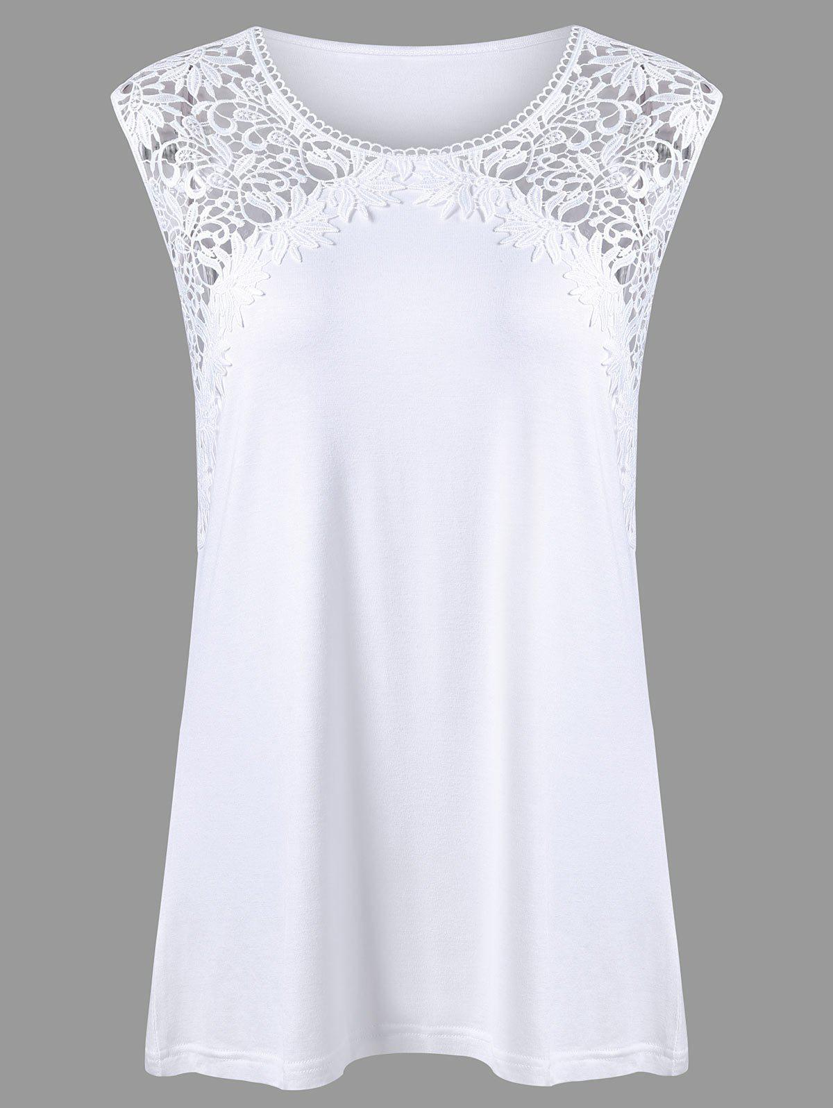 Plus Size Lace Panel Longline Tank TopWOMEN<br><br>Size: 4XL; Color: WHITE; Material: Rayon,Spandex; Shirt Length: Long; Sleeve Length: Sleeveless; Collar: Round Neck; Style: Casual; Season: Summer; Pattern Type: Floral; Weight: 0.3600kg; Package Contents: 1 x Tank Top;