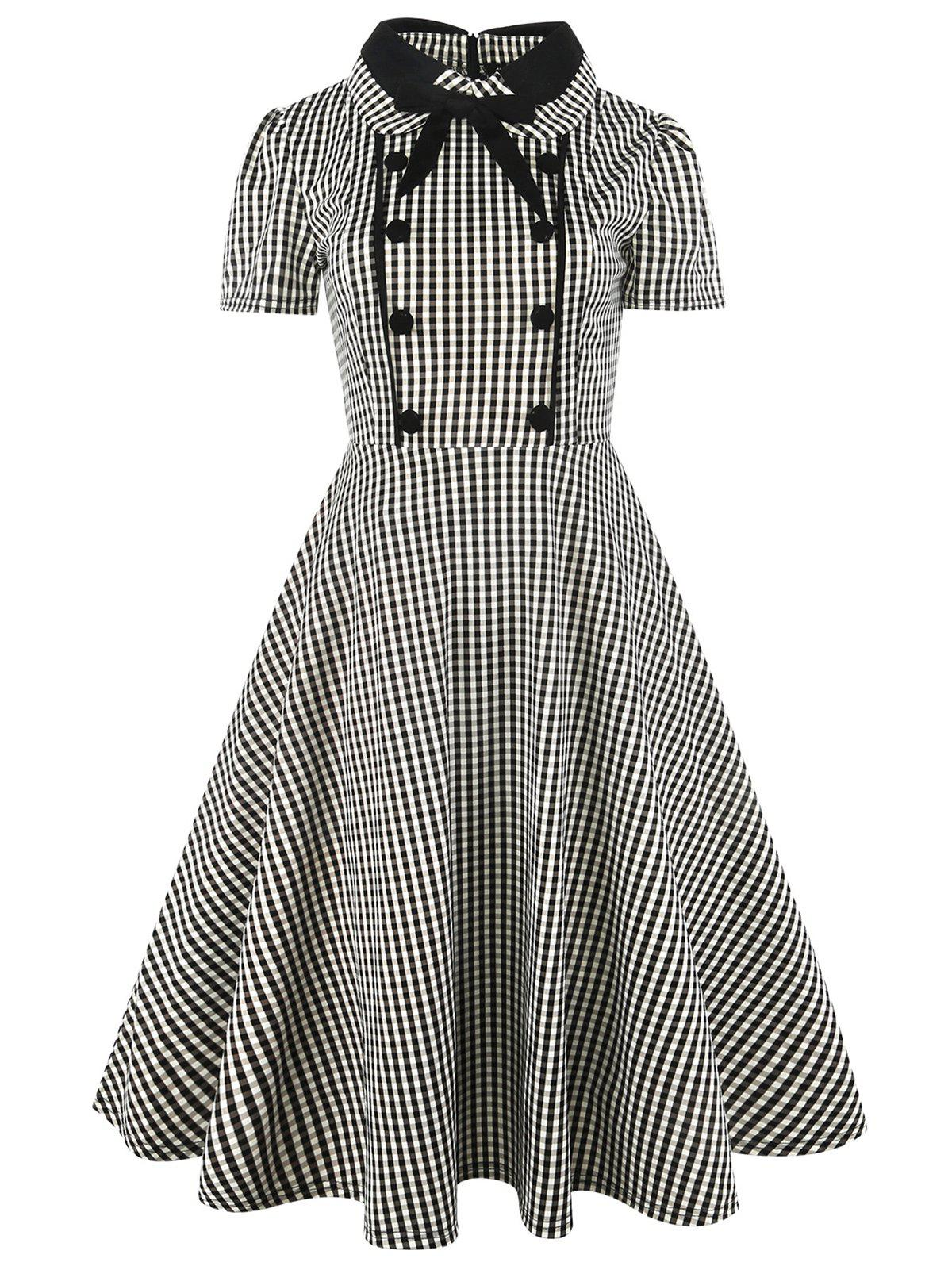 Sale Vintage Bowknot Button Plaid Fit and Flare Dress