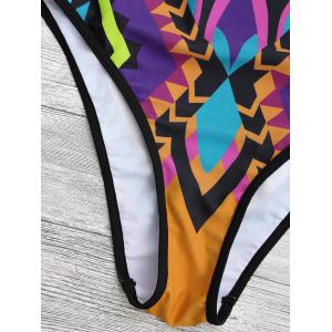Cupped Cutout African Print One Piece Swimwear - YELLOW XL