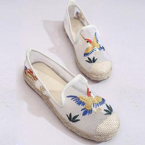 Espadrilles Embroidery Flat Shoes - White - 38