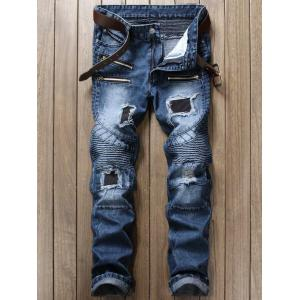 Distressed and Patch Design Biker Jeans