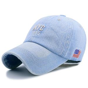 American Flag Letters Embroidered Denim Baseball Hat - Light Blue - One Size