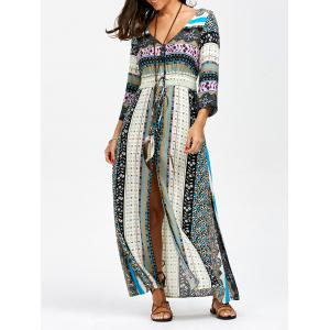V Neck Elastic Empire Waisted Button Up Maxi Dress