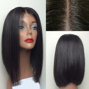 Center Part Silky Straight Medium Bob Lace Front Synthetic Wig - Black - 26inch