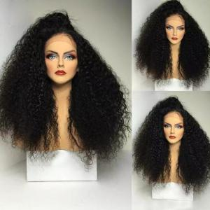 Side Part Shaggy Long Afro Curly Lace Front Synthetic Wig - Black