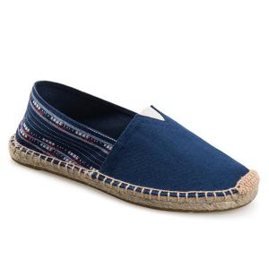 Espadrilles Striped Canvas Shoes - Deep Blue - 40