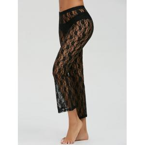 Lace High Waisted Capri Pants - Black - S