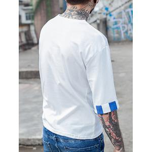 Japanese Character Cap Embroidered Stripe Panel T-Shirt - WHITE XL
