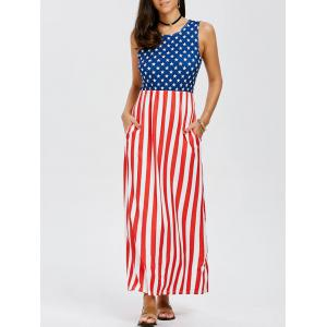 Sleeveless Maxi Patriotic American Flag Print Dress