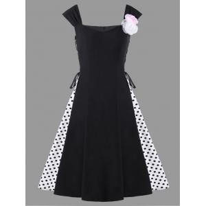 Robe à pois à encolure embellie à la mode - Noir M