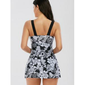 One Piece Floral Skirted Plunge Swimsuit - BLACK XL