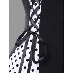 Robe à pois à encolure embellie à la mode - Noir XL