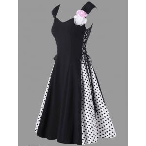 Flower Embellished Lace Up Retro Polka Dot Dress - Black - Xl