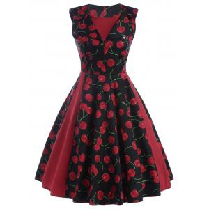 Front Buttoned Printed Vintage Dress