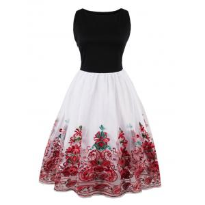 Embroidered Vintage Flare Dress - Red - 2xl